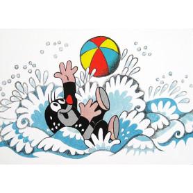 Krtek - aan het zwemmen