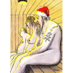 Kerstman in de sauna