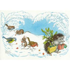 Molly Brett - Hedgehog carrying mistletoe