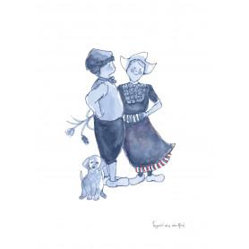 Fantasiebeestjes - Delftsblauw Boertje boerinnetje