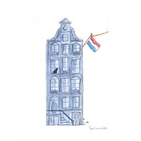 Fantasiebeestjes - Delftsblauwe grachtenhuis