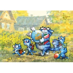 Rina Zeniuk Blue Cats - Homeschooling
