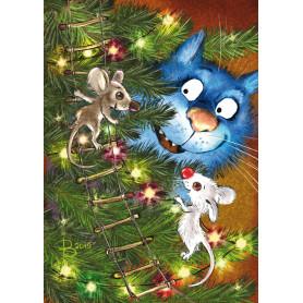 Rina Zeniuk Blue Cats -  Christmas lights