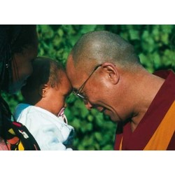 Dalai Lama greeting a child