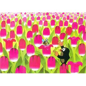 Krtek - tussen de tulpen