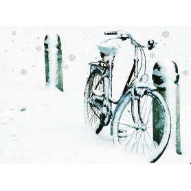 Fiets met sneeuwglitters