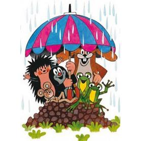 Krtek - schuilen voor de regen