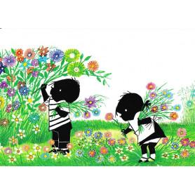 Jip en Janneke bloemen plukken