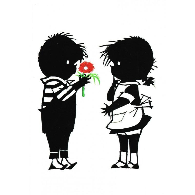Jip geeft Janneke een gekeurde bloem