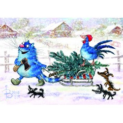 Rina Zeniuk Blue Cats - Christmas