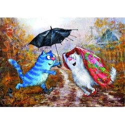 Rina Zeniuk Blue Cats - You, me and the umbrella