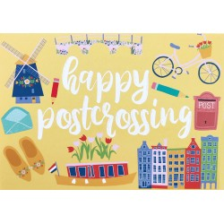 Happy Postcrossing - Yellow