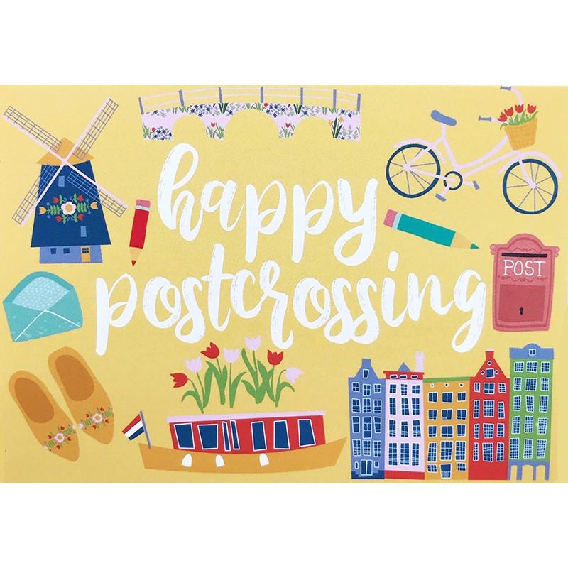 Happy Postcrossing - Yellow
