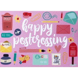 Happy Postcrossing - Pink
