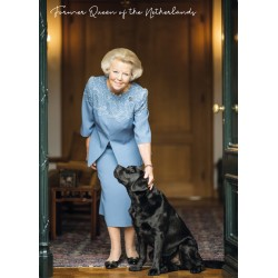 Former queen of the Netherlands with dog