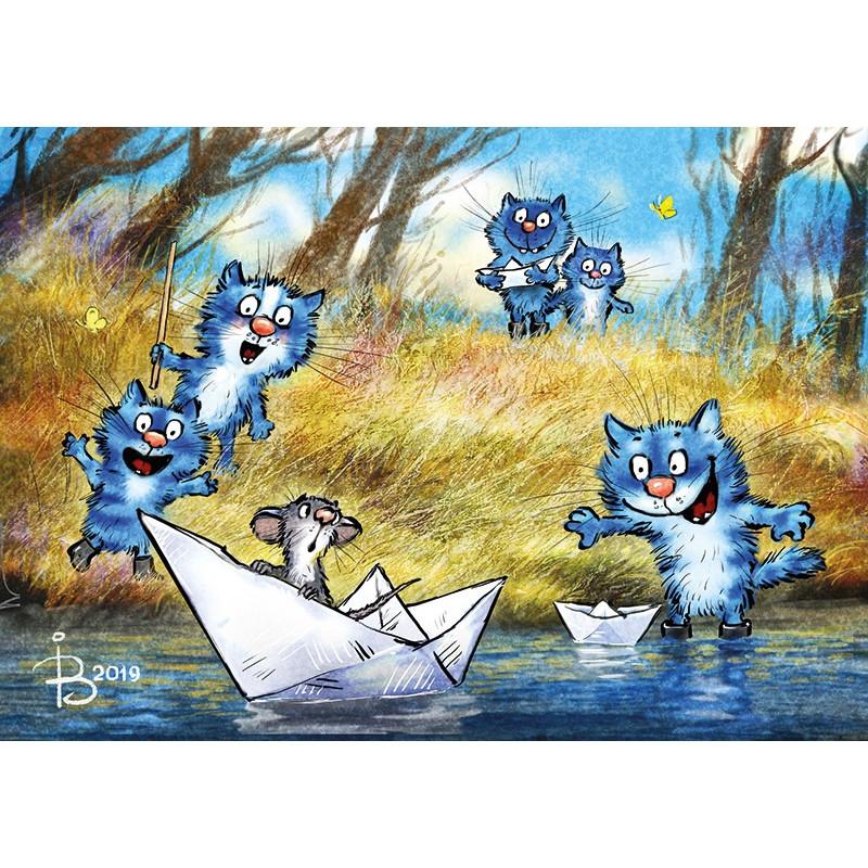 Rina Zeniuk Blue Cats - Paper boat