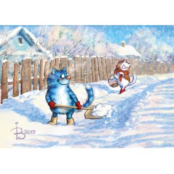 Rina Zeniuk Blue Cats - Snow!