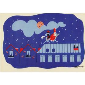 Sinterklaas en zwarte piet op het dak