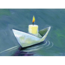 Paperboat with candle